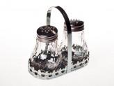 Солонка в наборе 2шт стекло/металл