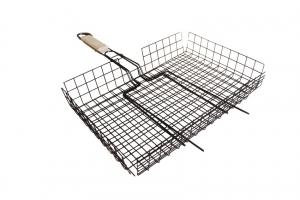 Решетка для барбекю глубокая большая 410*335*60мм общая длина- 715мм