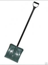 Лопата снеговая 385х380мм пластмассовая  с алюм. черенком и V-обр ручкой (оцинк планка)  (З №6)